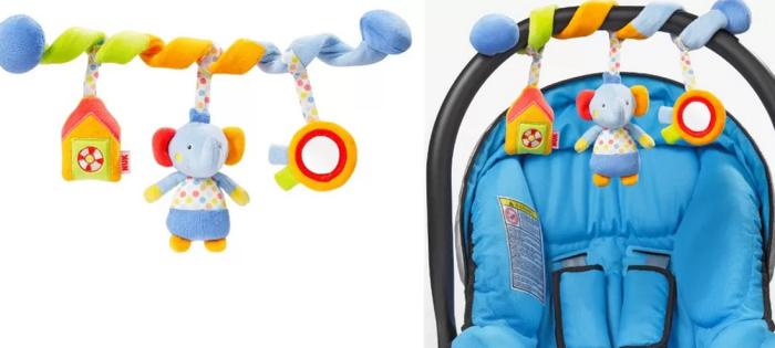 O Móbile Espiral, da NUK, agarra-se com facilidade a berços, carrinhos e balanços. R$ 109,90.