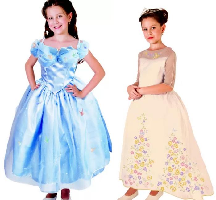 Vestido da Cinderela (esquerda), baseado no novo filme da Disney e modelo Noiva, inspirado no casamento da princesa. Da Rubie's Brasil. Preços não divulgados.